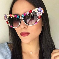 Oversize Cat Eye Sunglasses Women Brand Designer Luxury Crystal Sexy Sun Glasses For Ladies