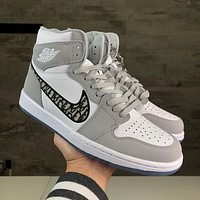 inseva Nike Air Jordan Mid AJ1 new embroidered couple high-top sneakers Shoes
