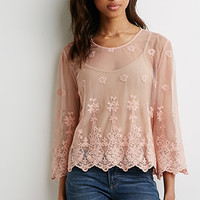 Embroidered Floral Mesh Top