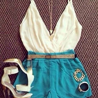 Color Block Spaghetti Strap Scalloped Hem Romper