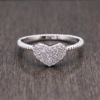 925 sterling silver pave cubic zirconia heart ring