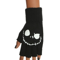 The Nightmare Before Christmas Glow-In-The-Dark Jack Face Fingerless Gloves