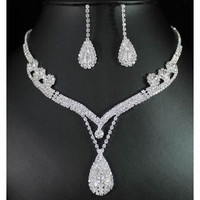 Heather Crystal Rhinestones Water Drop Jewelry Sets for Brides, Wedding Gifts