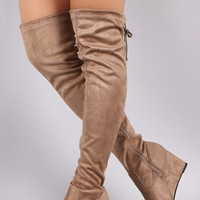 """Suede Drawstring Tie Over-The-Knee Wedge Boots Thigh High Boots Heel Height: 3"""" Shaft Length: 24"""" (including heel) Top Opening Circumference: 16.5"""" Black & Light Wine & Taupe"""