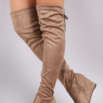 "Suede Drawstring Tie Over-The-Knee Wedge Boots Thigh High Boots Heel Height: 3"" Shaft Length: 24"" (including heel) Top Opening Circumference: 16.5"" Black & Light Wine & Taupe"