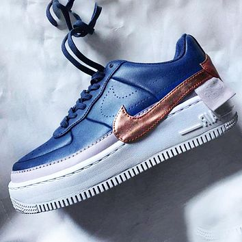 Nike Air Force 1 AF1 Flat Shoes Sports Sneakers PU Contrast Blue gold
