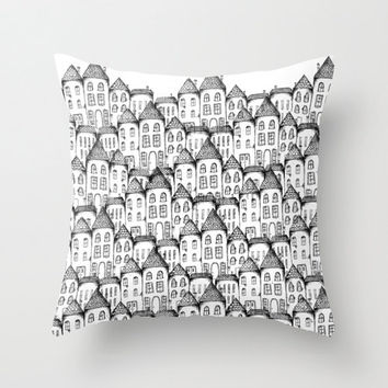 Home Decor Throw Pillow Cover, Illustrated Houses Decorative Pillow Cover, Black and White Accent Pillow