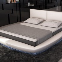 Modrest Sferico - Modern White Eco-Leather Bed with LED Lights