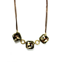Gold Glass Stone Necklace