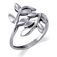 Gem Avenue 925 Sterling Silver Polished Finish Ivy Leaf Design Ring