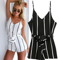 Stylish Stripes Print Spaghetti Strap Shorts Jumpsuit [4920224132]
