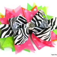 Girls hair bows, Zebra, Neon Pink, Boutique hair bows, girls, baby, toddler, Stacked hair bow, Girls hair accessories