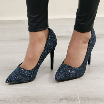 All That Sparkles Black Glitter Pumps