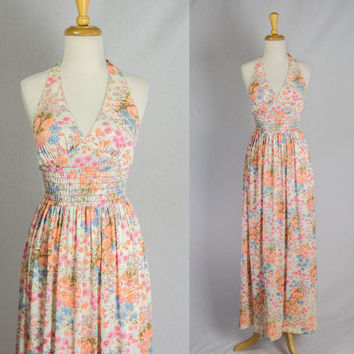 Vintage 70's Halter Maxi Dress Mod Wildflower Bohemian Print