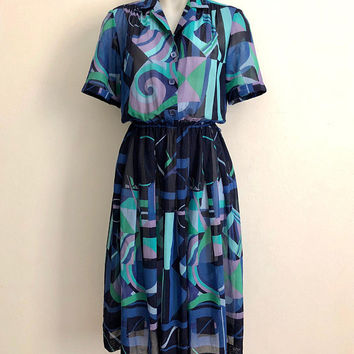 Vintage 1980s 'Glenys Imports' abstract deco print dress with gathered waist and button front / Hausammann + Moos Fabric