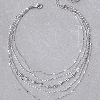 AEO Layered Chain Necklace, Silver