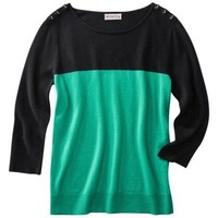 Merona® Womens 3/4 Sleeve Color Block Sweater -Black/Green