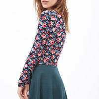 FOREVER 21 Floral Print Crop Top Black/Multi