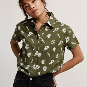 Pizza Slayer Women's Button-Up Top