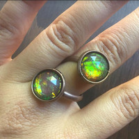 Adjustable Opal Wrap Ring Copper Twist Spiral finger Jewelry White Black Green Flash Fire Opal Jewelry