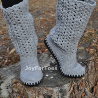 Crochet Boots Grey Fall 2014 colors Laced Boots Outdoor Boots Handmade to Order