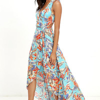 Something to Believe In Turquoise Floral Print Wrap Dress