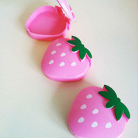 set of THREE strawberry cases to store jewelry or gems pill case kawaii hello kitty style fruits seapunk 90s cute