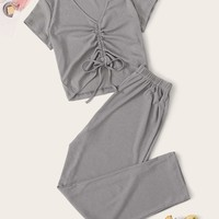 Drawstring Ruched Detail Rib Pajama Set