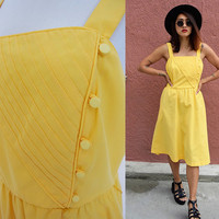 Vintage L 70's day dress yellow strappy full skirt large