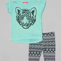 Mint Burnout Tiger Tunic & Tribal Shorts - Infant & Toddler | zulily