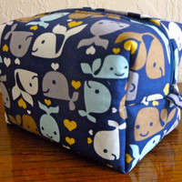 Happy Whale- Boxy Cosmetic, Toiletry, and Makeup Bag