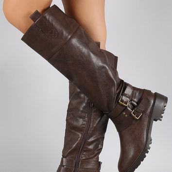 Qupid Buckle Lug Sole Riding Knee High Boots