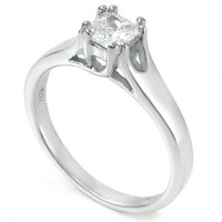 Sterling Silver CZ Princess Cut Engagement Ring size 5-9
