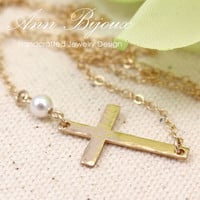 Hammered Sideways Cross Necklace, Hand Stamped Cross Necklace, Sideways Cross with Pearl Necklace, Mother Necklace, Grandma Necklace