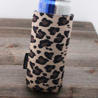 Beer Holder- Slim Can- 8 oz- HANDMADE- Sewn to Order- Free- KOOZIE ®- with- Can Cuddler ®- Slim Beer Can- Cheetah- Leopard