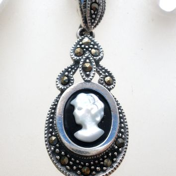Cameo Pendant Necklace Sterling Silver