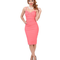 Stop Staring! 1940s Style Coral Pink Million Dollar Baby Wiggle Dress