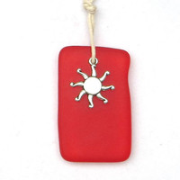 Sea Glass Summer Sun Necklace Strawberry Red by WaveofLife