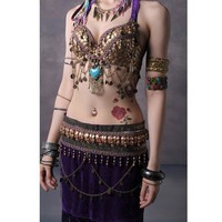Copper Coin Belly Dance Top and Tassle Skirt Set (3 Colors)