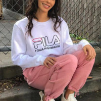 FILA Fashion Casual Print Long Sleeve Sweater Pullover Sweatshirt For Women Men
