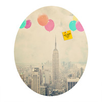 Maybe Sparrow Photography Balloons Over The City Oval Magnet Board