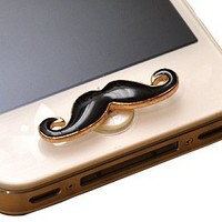 EZsports Apple Decal Rhinestone Mustache Iphone Crystal Home Return Keys Buttons Sticker For Apple iPhone 3 3G 4 4S iPhone 5 iPod Touch iPad Repair Fix Replace Replacement (Black)