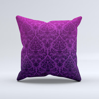 Purple Delicate Foliage Pattern ink-Fuzed Decorative Throw Pillow