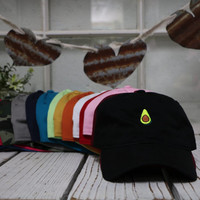New Avocado Embroidered Baseball Cap Low Profile Curved Bill - Multiple Colors