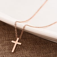 Cross Gold Pendant Necklace Jewelry Accessories Collarbone Chain _ 8467