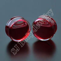 Promotion 1 Pair Red Liquid Blood Ear Gauges Acrylic Ear Plug Earrings Gauges Body Piercing Jewellry Pircing Mixes 9 Size