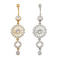 Fashion Beauty Gold Silver Round Crystal Rhinestone Dangle Button Bar Navel Belly Ring Jewelry = 4804822852