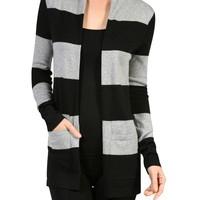 Draped Long Sleeve Open Front Knit Cardigan