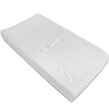 American Baby Company Heavenly Soft Minky Dot Fitted Contoured Changing Pad Cover, White Puff
