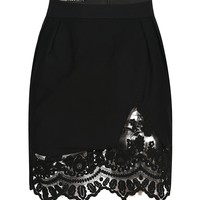 Black Lace Paneled Hem Mini Pencil Skirt